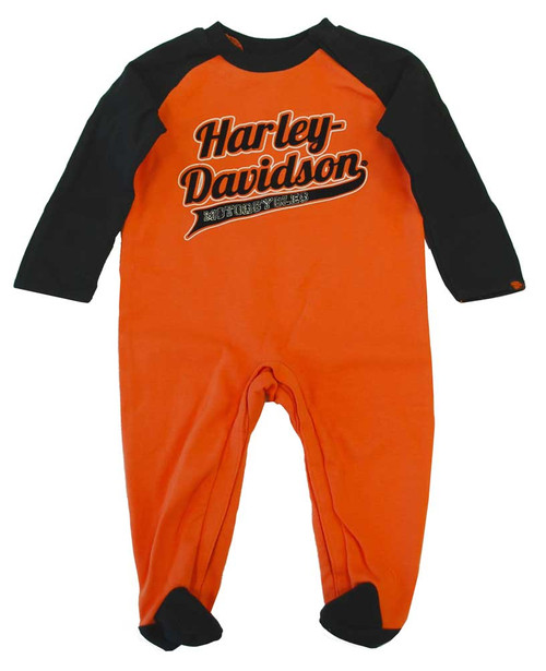 Harley-Davidson® Baby Boys' Footed Coverall Romper Orange/Black Infant 0363130 - A