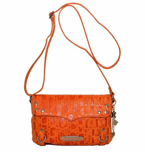 Harley Davidson Womens Orange Hammered Croco Crossbody Bag Purse HC7963L-ORG