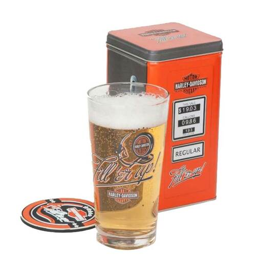 Harley-Davidson® Fill'er Up Tall Glass Gift Set, 3 Piece, 20 oz Glass HDL-18733 - C