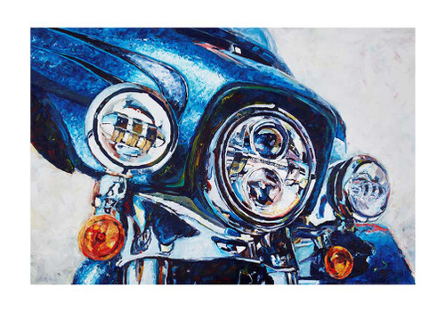 Harley-Davidson® Daytona Blue Poster, Watercolor Motorcycle, 24 x 36 in ZHDFA0102