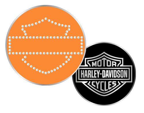 Harley-Davidson® Bar & Shield Rhinestone Challenge Coin 1.75'' Orange 8003005