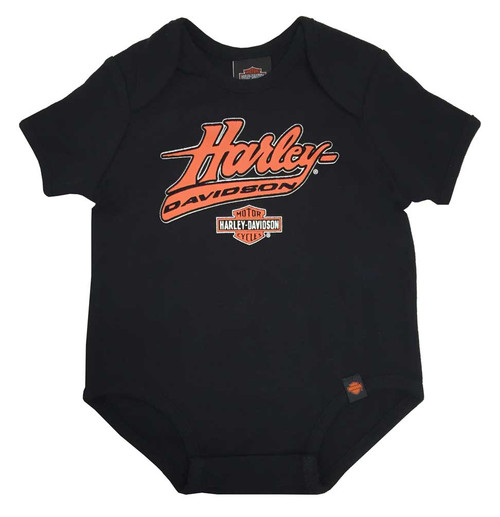 Harley-Davidson® Baby Boys' Interlock Felt H-D Script Creeper, Black 0253094