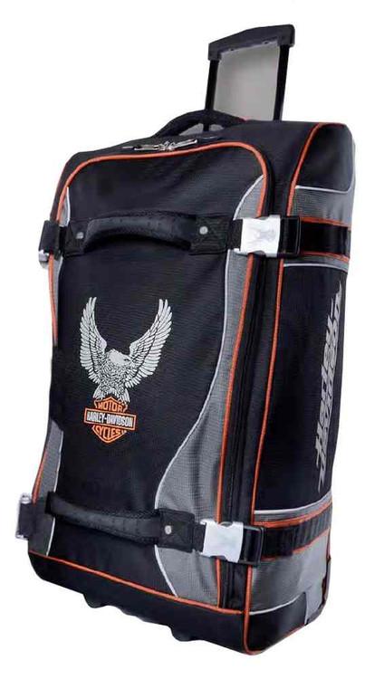 Harley-Davidson® 29 Inch Luggage, Up-Wing Eagle Bar & Shield, Silver/Black 99329 - C