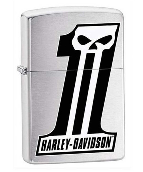 Harley-Davidson® #1 Skull Logo Zippo Lighter Brushed Chrome Finish 28228