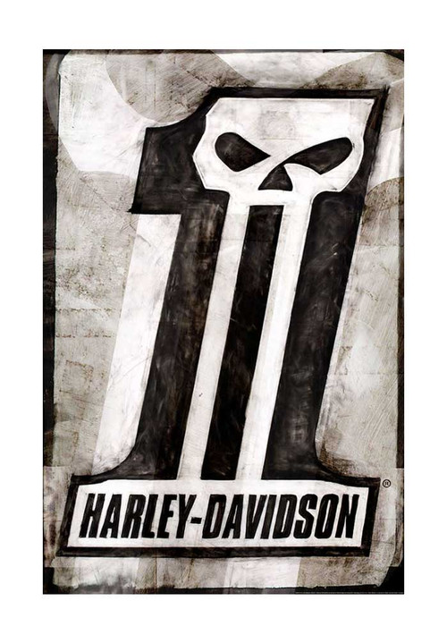 Harley-Davidson® Dark Custom Poster, Distressed #1 Skull Logo, 24x36 in ZHDFA0101