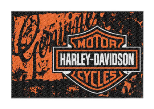 Harley-Davidson® 20 x 30 Bar & Shield Distressed Genuine Tufted Rug NW269224