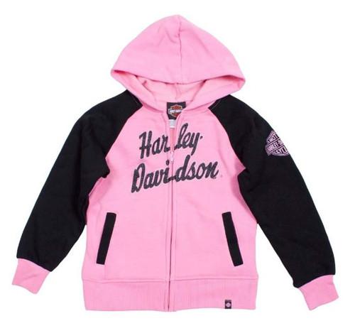 Harley-Davidson® Big Girls' H-D Fleece Full Zip Hooded Sweatshirt Pink 0341588
