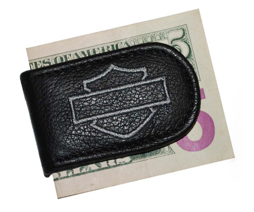 Harley-Davidson® Black Leather Grey Embroidered B&S Money Clip Fob HD05-G