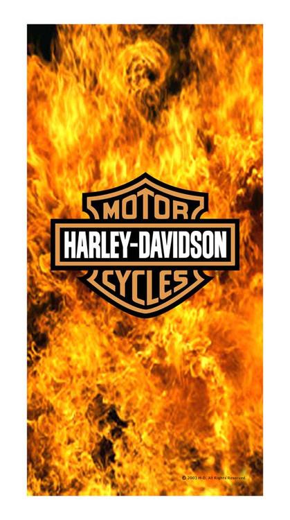 Harley-Davidson® Flaming Fire Bar & Shield Logo Beach Towel, 30 x 60 inch, 16129
