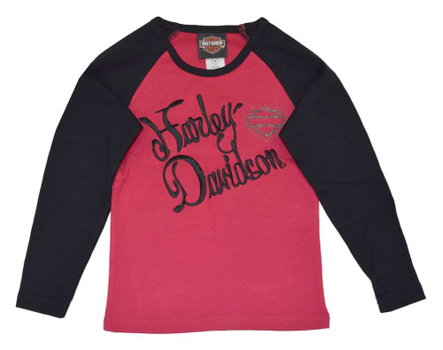 Harley-Davidson® Big Girls' Tee, H-D Script Long Sleeve Rib Shirt, Red 4241400