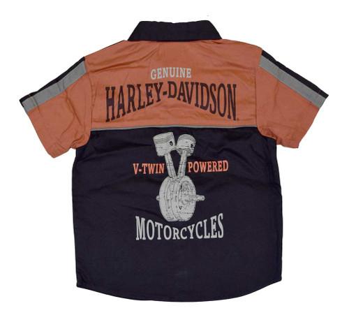 Harley-Davidson® Big Boys' Shop Shirt, H-D Button Up Garage Tee, Black 4291386