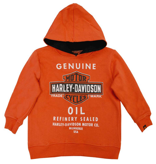 Harley-Davidson® Big Boys' Orange Genuine Bar & Shield Oil Hoodie 0291394