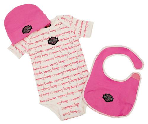 Harley-Davidson® Baby Girls' Pink Cotton Bib, Bodysuit & Hat 3-PC Set S9LGL60HD - A