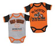 Harley-Davidson® Baby Boys' Mom Rules Creeper Set, 2 Pack, Black/Orange 3050553