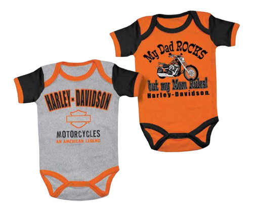 Harley-Davidson® Baby Boys' Mom Rules Creeper Set, 2 Pack, Black/Orange 3050553