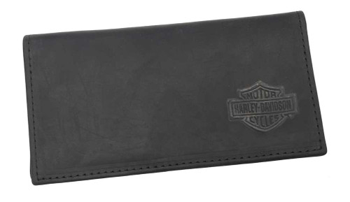 Harley-Davidson® Embossed Bar & Shield Checkbook Cover Leather Black CK704H-2 - A