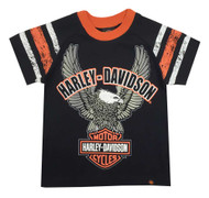 Harley-Davidson® Big Boys' Up-Wing Eagle Raglan Jersey Tee, Black 1090565