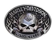 Harley-Davidson® Mens Belt Buckle Immunity Flame Willie G Skull Silver HDMBU10409 - Wisconsin Harley-Davidson