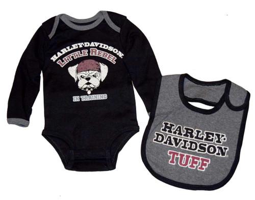Harley-Davidson® Baby Boys' Creeper & Bib Set, Little Rebel Gift Set 4362396