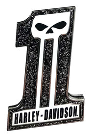 Harley-Davidson® Glittery #1 Skull Logo Pin, Black Skull, 1.5 x 1 inch 126571 - Wisconsin Harley-Davidson