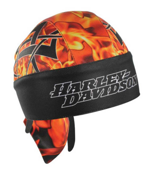 Harley-Davidson® Firey Head Wrap Black W/ Orange & Red Flames HW04264