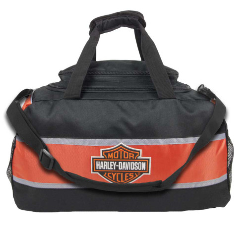 Harley-Davidson® Deluxe Embroidered Bar & Shield Striped Duffel Bag Black 0480460