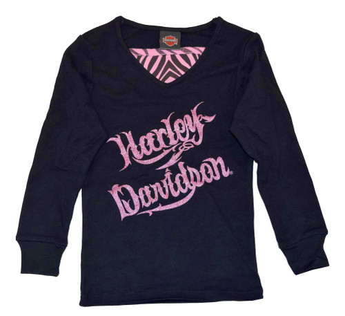 Harley-Davidson® Big Girls' H-D Script Long Sleeve Layered Tee, Black 3241326 - A