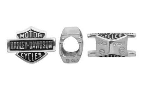 Harley-Davidson® Full Text Bar & Shield Sterling Silver Ride Bead HDD0001