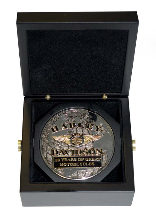 Harley-Davidson® 110th Anniversary 3 Inch Medallion Wooden Collector Box HDMS0001 - A