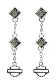Harley-Davidson® Womens Earrings, Black Ice Crystal Drop Dangle Earrings HDE0361