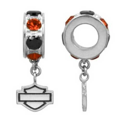 Harley-Davidson® Black & Orange Crystal Bar & Shield Spacer Ride Bead HDD0021