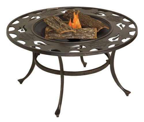 Harley-Davidson® Bar & Shield Low Profile Fire Pit 24 in Cast Iron Bowl HDL-10058 - A