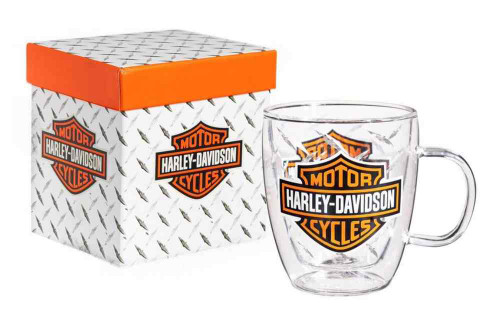 Harley-Davidson® Bar & Shield Glass Blown Coffee Cup, Clear 12 oz. 3GCC4900