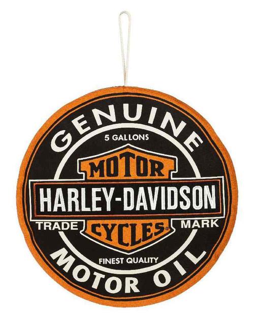 Harley-Davidson® Embroidered Motor Oil Bar & Shield Hanging Door Decor 2DHB4919 - C