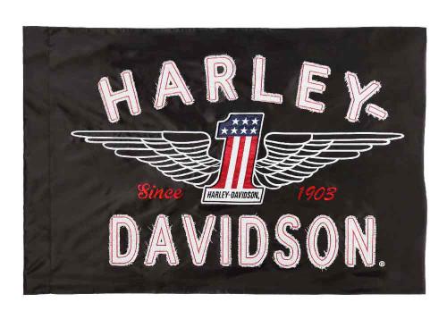 Harley-Davidson® Embroidered Frayed Estate Winged #1 Flag, 3 x 5 ft. Black 124917 - D