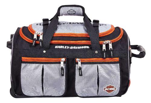 Harley-Davidson® 29 inch 15-Pocket Wheeling Duffel Bag, Silver/Black 99529 - Wisconsin Harley-Davidson