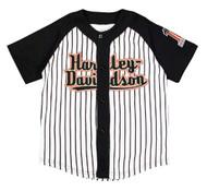 Harley-Davidson® Little Boys' Striped Baseball Jersey, Black & White 1082637