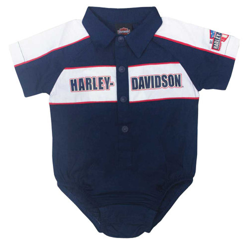 Harley-Davidson® Baby Boys' Short Sleeve Newborn Woven Shop Creeper, Navy 3052617 - A
