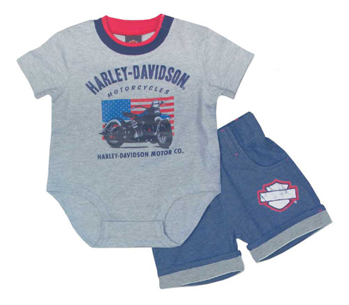 Harley-Davidson® Baby Boys' Creeper Newborn 2 Piece Short Set, Gray 2052615