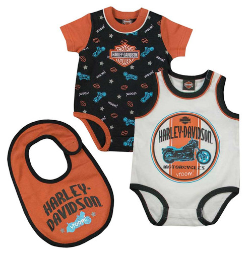 Harley-Davidson® Baby Boys' Interlock Infant 2-Pack Creeper & Bib Set, 3062621