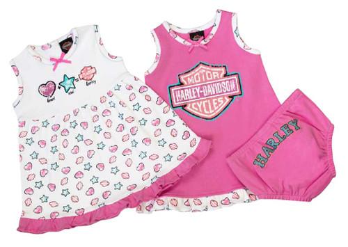 Harley-Davidson® Baby Girls' Glittery Newborn 2-Pack Sundresses w/ Pant 9002611