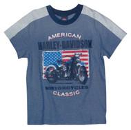 Harley-Davidson® Big Boys' Patriotic Motorcycle Short Sleeve Tee, Blue 1092661