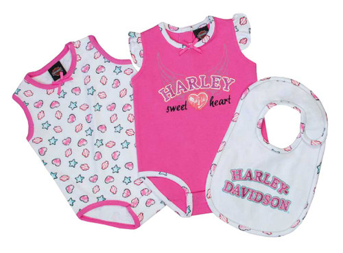 Harley-Davidson® Baby Girls' Glittery Newborn 2-Pack Creeper w/ Bib Set 3002609