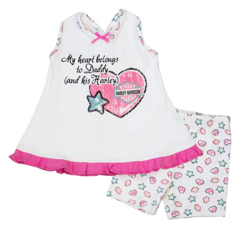 Harley-Davidson® Baby Girls' Glitter A-line 2 Piece Short Set, Pink/White 2002607 - A