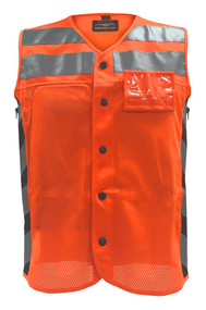 Missing Link Men's Meshed Up Safety Vest Hi-Viz Reflective, Orange MUMO