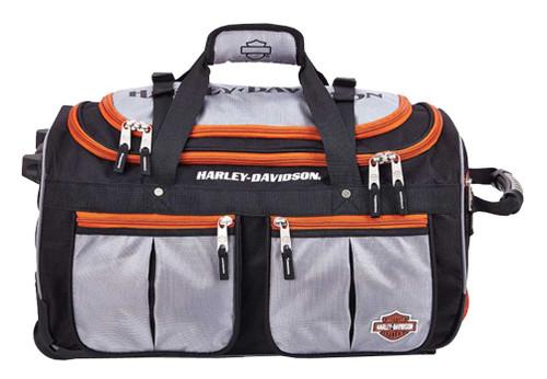 Harley-Davidson® 21 inch 15-Pocket Wheeling Duffel Bag, Silver/Black 99521 - C