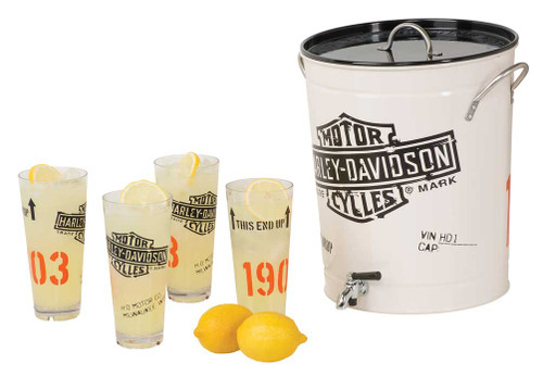 Harley-Davidson® 1903 Bar & Shield Enamel Steel Beverage Dispenser Set  HDL-18764