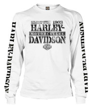 Harley-Davidson® Men's Distressed Freedom Fighter Long Sleeve Shirt, White