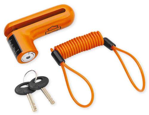 Harley-Davidson® Disc Brake Security Lock & Reminder Cord, Orange 94873-10 - A