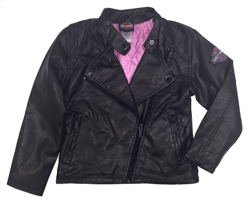 Harley-Davidson® Big Girls' Winged Bar & Shield PU Biker Jacket, Black 6043691